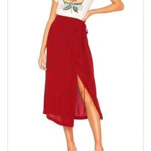 Free People Yasmin Tied Midi Skirt Raspberry